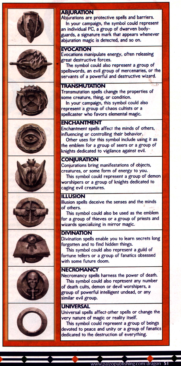 Need Some Symbols For Dd Magic Schools General Rpg Discussion